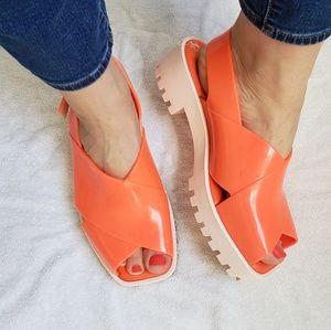 Melissa Orange Jelly Platform Sandals Peeptoe